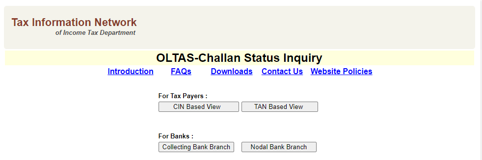 OLTAS (Online Tax Accounting System)-Challan Status Inquiry