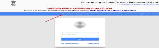 "• Step 2: Click on ""Check Challan Status"""