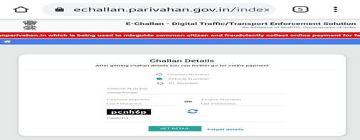 Enter your challan number, vehicle number, or DL number on the page
