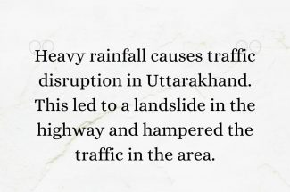 Thumbnail for the post titled: HEAVY RAINFALL CAUSES TRAFFIC DISRUPTION IN UTTARAKHAND