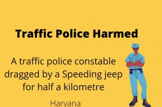 Thumbnail for the post titled: TRAFFIC POLICE IN HARYANA WERE HARMED BY A SPEEDING JEEP