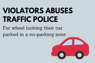 Thumbnail for the post titled: VIOLATOR ABUSES TRAFFIC POLICE FOR WHEEL LOCKING THEIR CAR